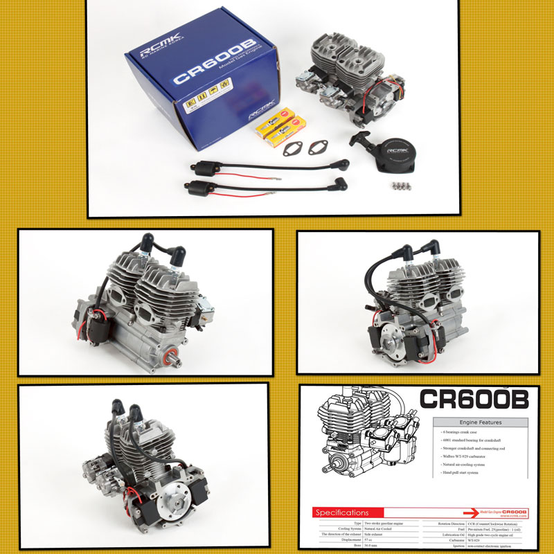 RCMK CR600B TWIN 57cc Engine  with Carburettor