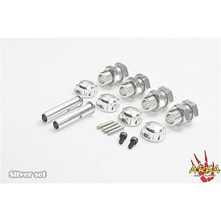 Baja Axle Extenders & Nuts 5B 5T Silver no E clip by Area RC