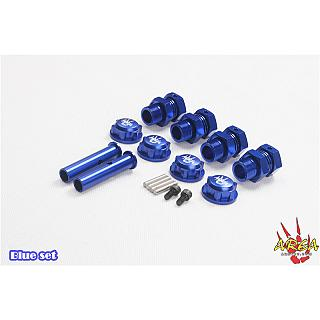 Baja Axle Extenders & Nuts 5B 5T BLUE no E clip by Area RC