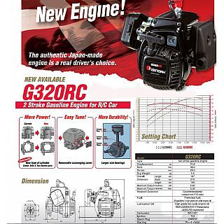 Zenoah G320RC ENGINE 4 bolt with Clutch & Carby