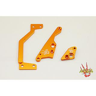 Baja Engine Brace Kit HD 3 pce 6mm 6061 by Area RC Orange